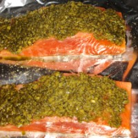 Roasted Salmon Fillets with a Crusted Pecorino and Pesto Topping