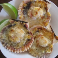 Broiled Scallops with Parmesan